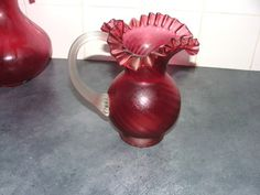 A Beautiful Large Cranberry colour Glass Jug size 8 Inches by 8 Inches in good Condition - A B. Ireland Homes, Cranberry Color, Glass Jug, Crystals For Sale, Antiques For Sale, Home And Garden, Colour, Beautiful, Home Decor
