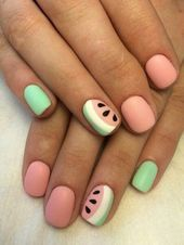55 special summer nail designs for an extraordinary look. Best to sew… - Sommer Nagel - NailiDeasTrends - 55 special summer nail designs for an extraordinary look. It is best to sew summer nail - Diy Nails, Swag Nails, Cute Nails, Nail Nail, Fancy Nails, Red Nail, Stylish Nails, Trendy Nails, Watermelon Nail Art