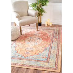 This 100% polyester rug features a traditional style with a modern color palette.  Constructed with a durable yet soft polyester pile to prevent shedding, this beautiful rug will make a wonderful addition to any room.