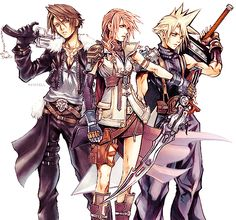 Squall, Lightning, Cloud - Final Fantasy Wasn't crazy about XIII but this still would be a badass team!