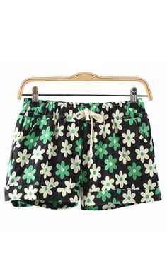 Super Cute Shorts! Mint Green Navy and White Floral Printing Elastic Waist Cotton Shorts #Mint_Green #Navy #White #Floral #Shorts #Summer #Fashion