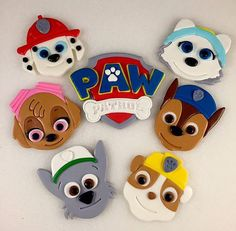 Listing is for (6) Paw Patrol Puppy *Faces* and (1) Paw Patrol Logo. The puppies included are: Marshall, Skye, Rocky, Rubble, Chase, and: