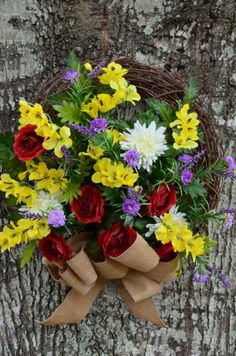 Yellow and Red Spring Wreath with Burlap Bow by SeraphicalDesigns, $45.99