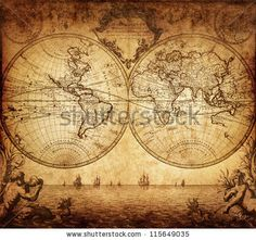 Vintage Map Of The World 1733 Stock Photo 115649035 : Shutterstock