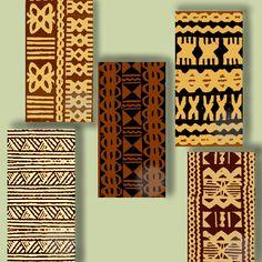 1X2 Inch Digital Art, Hawaii, Clip Art, Domino Size, Vintage Polynesian Tapa Cloth Designs Pendant Size CS 126. $3.00, via Etsy.