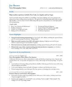 journalist resume sample tv news photographer page1 - Photography Resume Samples
