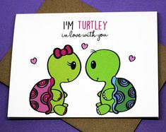 I'm Turtely In Love With You Cute Funny Turtles Romance Punny Greeting Card Cute Baby Turtles, Sea Turtles, Turtle Quotes, Cartoon Turtle, Tortoise Turtle, Turtle Love, Love Drawings, Cute Turtle Drawings, Cute Doodles