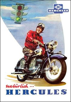 1950's Hercules Motorcycle graphic by bullittmcqueen, via Flickr