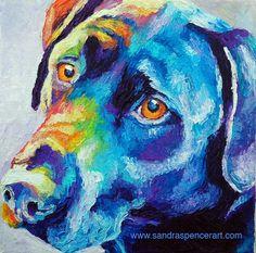 Original Black Labrador Retriever Oil Painting 10x10 bright colors painted by knife via Etsy