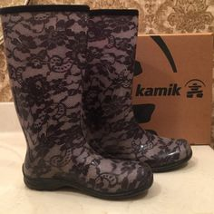 Kamik Women's Gwyneth Rain Boot (Size 10) Stylish and functional rainy day footwear from Kamik! These boots look great and will keep your feet dry and comfortable even in the wettest of conditions. Pre owned and in great condition. Original box included. Size 10 (fits true to size) *Synthetic material, waterproof  *Rubber Sole *13″ inches tall from boot arch *1 inch heel  *Calf diameter 12 inches Kamik Shoes Winter & Rain Boots