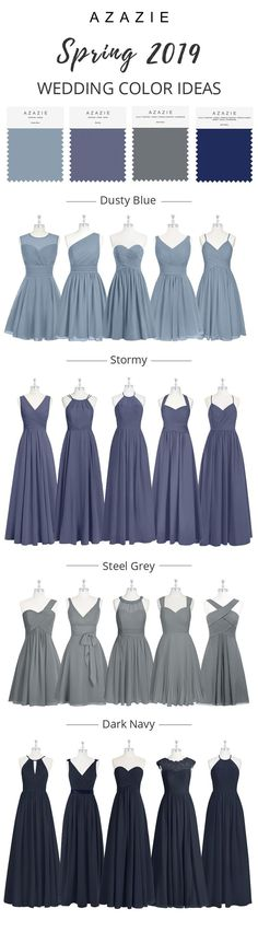 Dusty stormy bridesmaid dresses are the hottest trend in wedding fashion! Shop Azazie for gorgeous dusty stormy bridesmaid dresses, dusty stormy cocktail dresses & gowns. Blue Bridesmaids, Wedding Bridesmaid Dresses, Prom Dresses, Short Dresses, Perfect Wedding, Dream Wedding, Wedding Day, Wedding Blue, Spring Wedding Colors