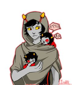 The Signless/ The Sufferer with grub Kankri and Karkat. Homestuck Trolls, Homestuck Grubs, Homestuck Ancestors, Homestuck Comic, Homestuck Characters, Davekat, And So It Begins, Home Stuck, Nerdy