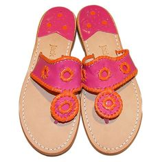 d62df2877959 Trendy Beachwear for the Summer Orange and Fuschia Jack Rogers sandals  Discovred by   Azza Shesheny