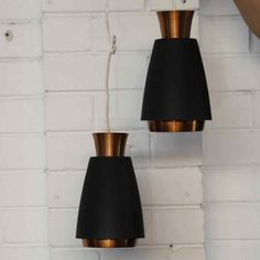 Pair of Danish Black and Copper Pendant Lamps