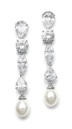 Cubic Zirconia Pierced Earrings With Freshwater Pearl Drops Wedding Feature Multi Shaped Cz Stones