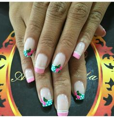 Uñas tiernas flores rosada aguamarina Creative Nail Designs, Acrylic Nail Designs, Acrylic Nails, Cute Nails, Pretty Nails, My Nails, Nails 2017, Magic Nails, Nail Patterns