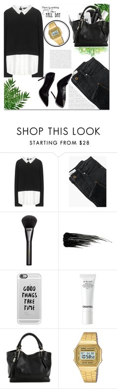 """#DAILYLOOK : Breen"" by sweetnovember66 ❤ liked on Polyvore featuring Alice + Olivia, MANGO, Gucci, Oribe, Urban Decay, Casetify, Chanel, Casio, StreetStyle and black"