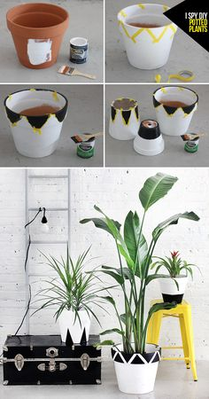Idea Of Making Plant Pots At Home // Flower Pots From Cement Marbles // Home Decoration Ideas – Top Soop Painted Plant Pots, Painted Flower Pots, I Spy Diy, Decorated Flower Pots, Photo Deco, Clay Pot Crafts, Diy Décoration, Diy Planters, Plant Decor