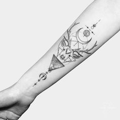 The deer (particularly the doe, females) has the capacity for infinite generosity. Their heart rhythms pulse in soft waves of kindness. Line Art Tattoos, Body Art Tattoos, Space Tattoos, Hirsch Tattoos, Geometric Shape Tattoo, Geometric Sleeve, Geometric Lines, Form Tattoo, Sacred Geometry Tattoo