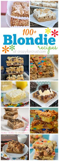 Over 100 Blondie Recipes | crazyforcrust.com @Crazy for Crust