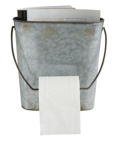 Creative Co-Op Tin Wall Mounted Toilet Paper Holder Galvanized Tin Walls, Galvanized Buckets, Galvanized Shower, Metal Buckets, Farmhouse Toilet Paper Holders, Primitive Bathrooms, Country Bathrooms, Outdoor Bathrooms, Small Bathrooms