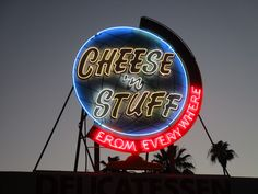 https://flic.kr/p/JcEfGt | Twilight Shot: Close-up of Lit, Restored Vintage Neon Globe Sign: Cheese 'n Stuff Deli, Phoenix, AZ | Cheese 'n Stuff From Everywhere delicatessen, with its cool, vintage neon globe sign and exotic cheeses, is a family business and a beloved landmark in the Valley of the Sun. It has been operating at this location in downtown Phoenix since 1949