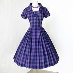 JONATHAN LOGAN lavender gingham stand-up portrait collar full skirt