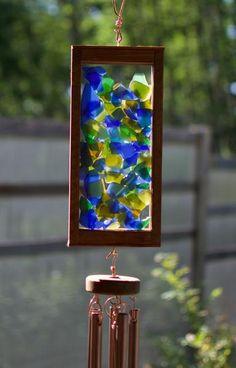 Sea Glass Kaleidoscope Outdoor Copper Wind Chimes