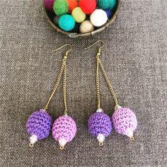 Purple crochet ball earrings