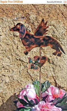 Dachshund Grave Marker Garden Plant Stake with Butterfly, Pet Memorial, Metal Garden Art, Copper Garden Art, Metal YarArt , Outdoor Sculpure