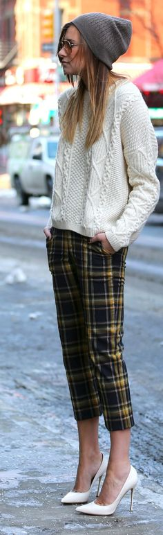 Alice + Olivia plaid skinny Pants by We Wore What I love the pants, not to sure about the baggy sweater or dorky hat..