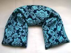 Flax Seed Heat Pack  Navy & Aqua Damask  Hot Cold by AquarianBath, $16.50