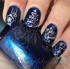 Christmas Nail Art Silver Merry Christmas Tree Stars Lights Use: 1-Trim,clean then paint your nails with the color you want. 2- cut out the pattern and plunge it into water for 10 - 20 seconds. (use w: