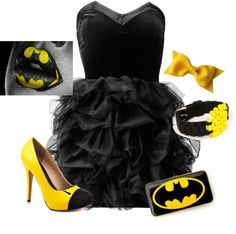 """Batman inspired outfit"" by trinityjilliana ❤ liked on Polyvore (I WOULD SO WEAR THIS OUTFIT!!!! BUT... THE LIPS YEAH... THAT I WILL NEVER DO!!)"