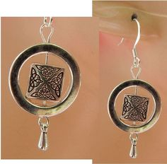 Silver Celtic Knot Charm Drop/Dangle Earrings Handmade Jewelry Hook Accessories #handmade