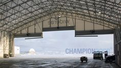 Champion Door fabric fold-up hangar doors for aircraft hangars from military fighters to jumbo jets. Reliable and long-lasting hangar doors with low maintena. Jumbo Jet, Thermal Insulation, Pvc Material, Sound Proofing, Exterior Doors, Icing, Champion, Aircraft, Layers