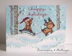 Lawn Fawn | Toboggan Together | Christmas  Paper Pawz | Lawnscaping Challenges - One Layer!