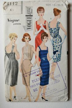 Vogue evening dress/gown pattern 4112, special design, Bust 36 inches, Waist 28 inches, 1960s vintage sewing patterns. One Piece Dress, Overblouse and