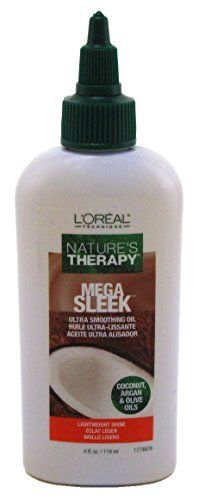 Loreal Natures Therapy Mega Sleek Ultra Smoothing Oil 4 Ounce (118ml) (3 Pack) -- Click image for more details. #hairsandstyles