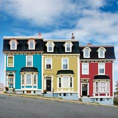 This is an adorable set of paint jobs! House located in St. John's, Newfoundland and Labrador, Canada Saint John, St John's, Terra Nova, Newfoundland And Labrador, Newfoundland Canada, O Canada, Second Empire, House Painting, East Coast
