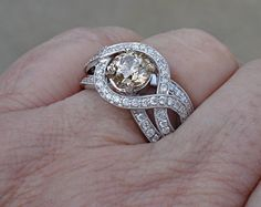 Natural Champagne Colored Diamond Solitaire Ring 14k by Luxinelle $2199