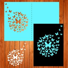 Invitación de la boda tarjeta plantilla, mariposas (studio V3, svg) lasercut descarga inmediata Silhouette Cameo de thehousedesigns en Etsy