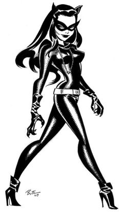 Batman villain Catwoman art by Bruce Timm Catwoman Cosplay, Batman Und Catwoman, Im Batman, Batgirl, Spiderman, Batman Stuff, Bruce Timm, Comic Book Characters, Comic Character