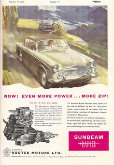 Sunbeam Rapier car advert, issued by Rootes Motors in The Motor, 1956 by mikeyashworth, via Flickr