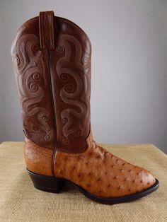 TONY LAMA CZ800 Full Quill Ostrich Brown Leather Peanut Brittle Boot Men 11 D M #TonyLama #CowboyWestern