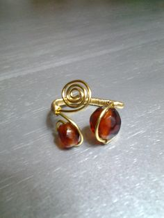 Genuine Dark Smoked Topaz Crystal w/ Gold, Wire Wrapped Ring, @ facebook.com/deepsouldzine, $12