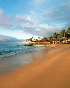 <29 of 50 >  Best Views: Poipu Beach, Kauai, Hawaii    With rows of palm trees on the horizon and lava formations jutting from the water, the three crescent beaches of Poipu create a picturesque scene along the bright-blue Pacific Ocean.  Stay at: Sheraton Kauai Resort -- Virtual Visit @ http://www.marthastewartweddings.com/231184/50-best-beach-honeymoons/@center/272460/honeymoons#/98630