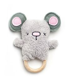 Cozy Mouse Teether | Wooden Baby Rattle | OB Designs - Brimful