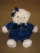 "20"" 2006 Dan Dee Snowflake Teddy Blue Dress & Bow Stuffed Animal Plush"