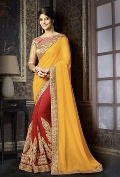 SAREE: Georgette BLOUSE: Georgette WORK: Embroidery And Patch Work COLOUR:Red and yellow TYPE:Semi stitched SIZE:Adjustable up to 42 SHIPPING & RETURNS T
